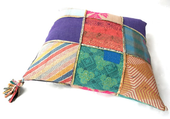 How To Make Extra Large Floor Pillows : extra large kantha cushion kantha quilt floor pillow by fairlyworn