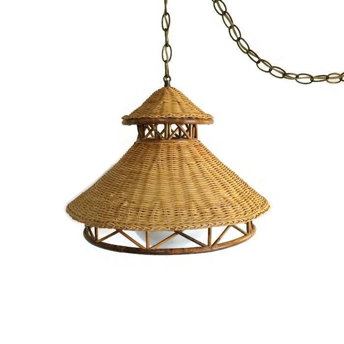 Vintage Natural Wicker Rattan Hanging Lamp Mid Century Swag
