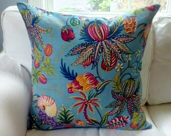 China Seas Quadrille Euro Pillow Covers. Multicolored Jacaranda by Alan Cambell in blue, yellow, green coral and more.