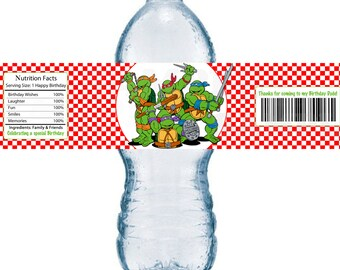 Bottle Label Red Checker TMNT Ninja Turtles Boys Birthday Party Printable Water bottle Labels
