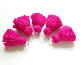 Gypsy Pink MINI TASSELS,Small Cotton Handmade Jewelry Making Tassels Supplies,Colorful Short Jewelry Tassels, MALA Bracelet Tassels No74