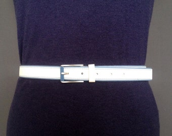 White Leatherette belt; light blue