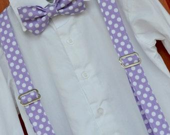 Little Boy Bowtie and Suspenders, Lavender bowtie, purple bowtie, purple polka dot bowtie, light purple suspenders, little boy lavender