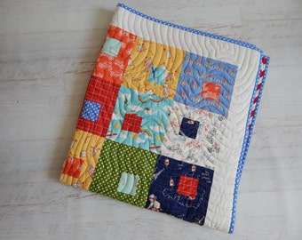 "Crib Quilt in ""children at play"" for little boy....Primary Colors......"