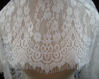 Chantilly Lace Fabric, Lace, Light Ivory Lace, Bridal Lace, Floral Lace, Lace Fabric, Bridal Fabric, Light Ivory Fabric, Remnant Lace