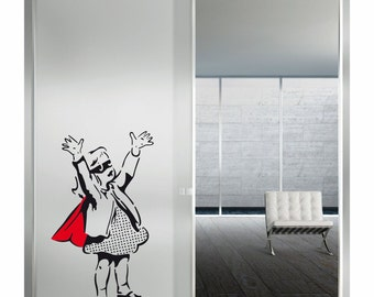 Wall Art Super Girl by Banksy vinyl wall decal alternative decor for a girl's room or a baby's nursery  (ID: 111050)