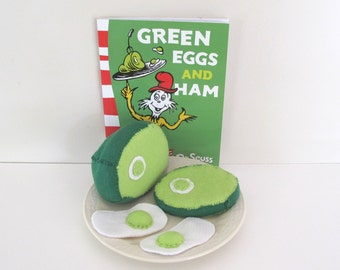 Dr Seuss Green Eggs and Ham Felt Food Reading Aid, Storytime Book