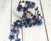 Crochet Lariat Necklace, Blue Oya Beaded Necklace, Boho Crochet Jewelry, Blue Black Star Flower Collar, Women's Gift, Beadwork ReddApple