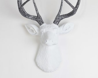 The Mildred Deer Head - White W/Gray Glitter Antlers Resin Deer Head - Stag Resin by White Faux Taxidermy - Faux Taxidermy Home Decorations