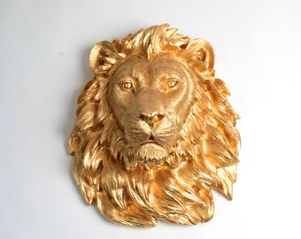 Faux Taxidermy Lion Head Wall Mount, The Epson - Gold Resin Lion Head, Faux Animal Head Decor by White Faux Taxidermy