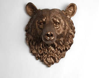 White Faux Taxidermy - Faux Taxidermy - The Alberta - Bronze Resin Bear Head- Resin White Faux Taxidermy - Chic & Trendy