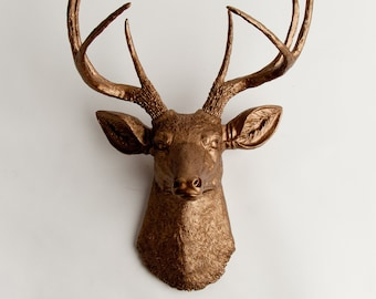 Faux Taxidermy Deer Head, The Bennett Bronze Resin Stag Mount by White Faux Taxidermy, Animal Friendly Hanging Deer Ornament