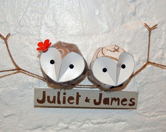 Owl mobile Wedding gift, CUSTOM 1st Anniversary Gift, with name plaque, first anniversary