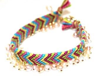 Stacking Bracelet Friendship Bracelet Bright Jewelry Pearl Bracelet Rainbow Bracelet Chevron Bracelet Multicolor Bracelet Friendship Jewelry