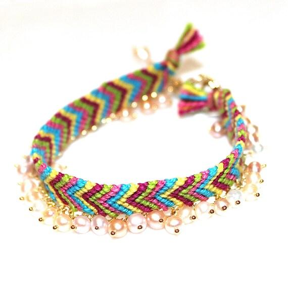Pearl Rainbow Chevron Friendship Bracelet
