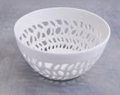 Carved bowl, porcelain bowl - kitchen bowl, handmade decorative bowl, textured bowl, modern bowl.