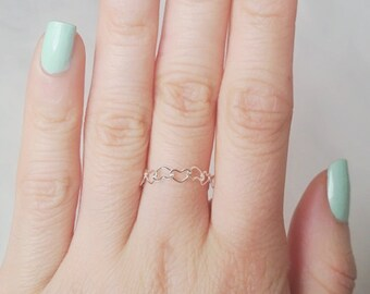 Tiny Hearts Ring Sterling Silver Dainty Simple Silver Ring Pretty Delicate Elegant Jewelry