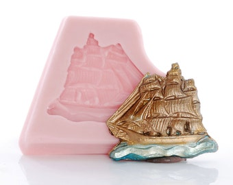 Silicone Mold Ship - Sail Boat Pirate Ship Silicone Mould - Jewelry Resin Polymer Clay Metal Mold - Food Safe Fondant Chocolate Mint  (867)