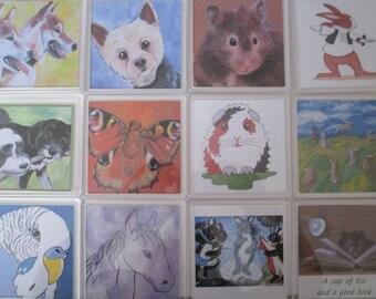 1x Acrylic Plastic Drink Tea Coffee Coaster Animals Pets Bunny Rabbit Guinea Pig Dog Cat Budgerigar Hamster Butterfly Unicorn