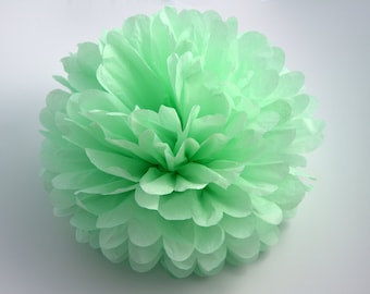 One Cool Mint Tissue paper Pom Poms // Wedding Decorations // Party Decorations // Pom Poms