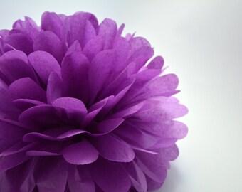 One Plum Tissue paper Pom Poms // Wedding Decorations // Party Decorations // Pom Poms