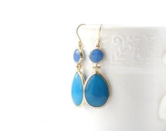 Blue Jade Stone Hook Gold Plated Earrings