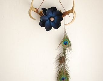 Deer Antlers Flowers & Feathers - Wall Hanging Taxidermy Art 8 Point Rack Home Decor Dark Blue Magnolia Peacock Jewelry Necklace Holder