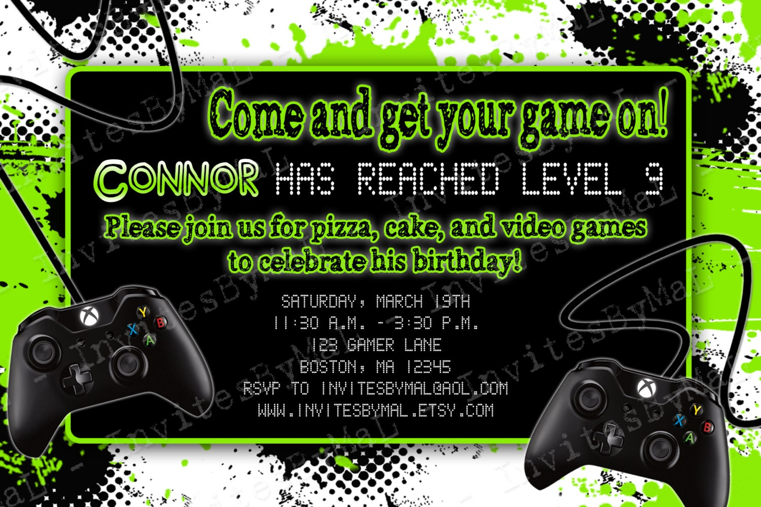 Video Game Party Birthday Party Invitation With Or By