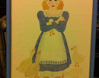 Stenciled Framed Art - Goose Girl