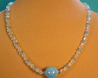 """Sparkly 18"""" Necklace with Baby Blue Pearlized Focal - N413"""