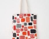 Geometric tote bag, orange reusable shopping bag, canvas beach bag, summer tote
