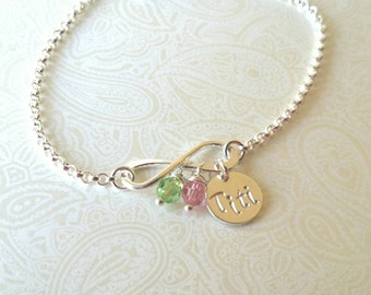 Infinity Bracelet with Titi Charm and Birthstones-Gift for Sister, Gift for Aunt, GIft for Aunt, Aunt to Be