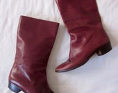 Mission District 1970s Red Brown Italian Leather Mid Boots 7.5
