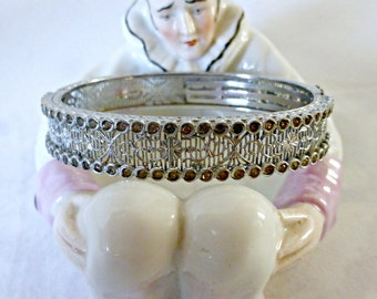 Vintage Rhodium Filigree Bracelet With Rhinestones