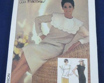 6842 Simplicity SZ 10 Pattern Ali MacGraw Misses Two Piece Dress 1985 Uncut