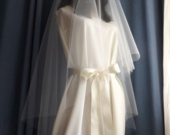 Drop Circular Bridal Veil - Plain Raw Edge - Two Tier Blusher Wedding Veil - Fingertip, Waltz, Chapel, Cathedral - Whites & Ivories