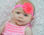 Neon Pink baby headband, flower headband, newborn headband, infant headbands, hair bow, baby hair bow, toddler hair bow,