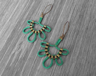 Dangle leather earrings. Green leather with gold brass  cube chain earrings. Dangle earrings. Trending earrings