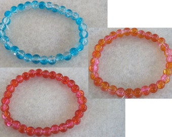 Ombre neon tie dye gradient crackle fissure glass beaded bracelet - Calypso blue, Brazilian hot pink & orange, Miami red and flamingo pink