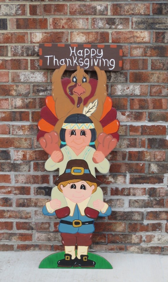 Thanksgiving greeting trio with pilgrim indian by