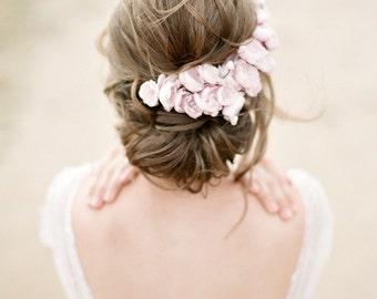 Pink Floral Bridal Headpiece -  SOPHIA Silk Flower Wedding Headpiece, Wedding Tiara, Floral Bridal Crown, Vintage Silk Flower Headpiece