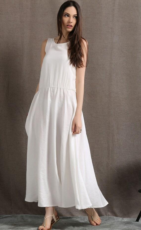 white linen dress women dress maxi dress c407