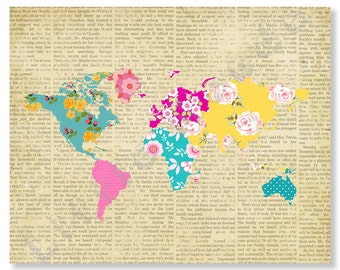 Baby Girl Nursery Prints, World Map Poster, Patchwork Map, Pink Aqua, Travel, Baby Girl Wall Art, Shabby Chic, Vintage, Hot Pink, Teal
