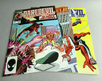 Set of 3 Vintage Daredevil Comic Books, No. 224, No. 225, and No. 226, November, December 1985, and January 1986, Marvel Comics