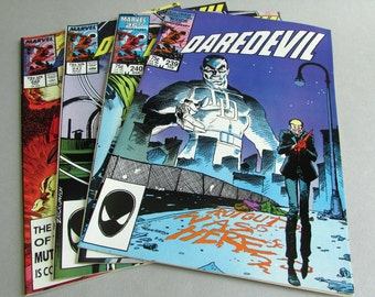 Set of 4 Vintage Daredevil Comic Books, No. 239, No. 240, No. 241, and No. 249, February, March, April, and December 1987, Marvel Comics