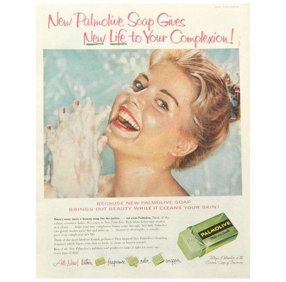 Vintage bathroom art palmolive soap ad bathroom decor for Bathroom accessories ads