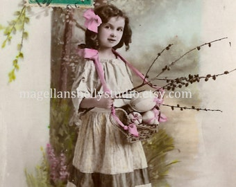 Easter Digital Download 1910's French RPPC  Gorgeous Girl In Dress Pink Bow With Twig of Berries Basket Easter Eggs