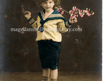 French RPPC Digital Download 1910's Sailor Boy with Flowers Navy Blue White Pink Hand Tinted