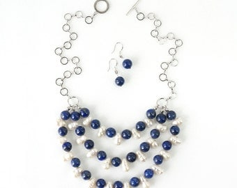 Blue Lapis Lazuli and Baroque Freshwater Pearls Statement Necklace & Earrings Set
