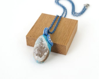 Blue Druzy Stone Pendant, Sparkling Clear Crystal Drusy Necklace, One of a Kind Handmade in Indonesia